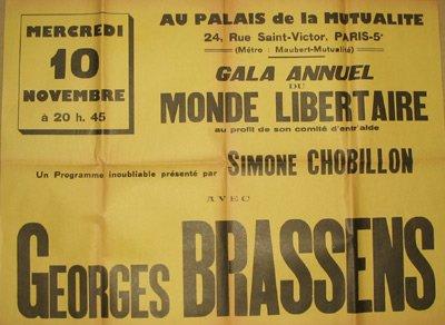 """Cartell d'un dels concerts anuals de Brassens per """"Le Monde Libertaire"""""""